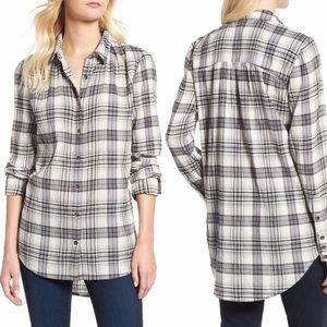 Nordstrom Soft Plaid Flannel Tunic Button Up Grey